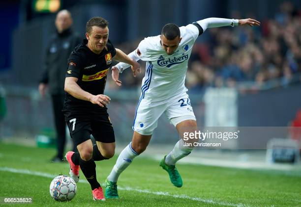 Stanislav Lobotka of FC Nordsjalland and Youssef Toutouh of FC Copenhagen compete for the ball during the Danish Alka Superliga match between FC...
