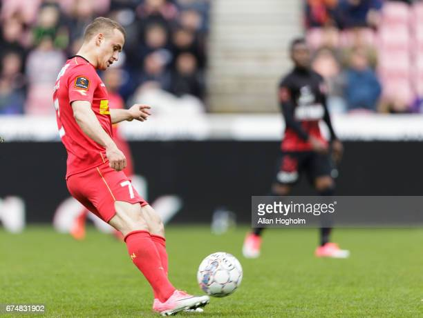 Stanislav Lobotka of FC Nordsjalland controls the ball during the Danish Alka Superliga match between FC Midtjylland and FC Nordsjalland at MCH Arena...