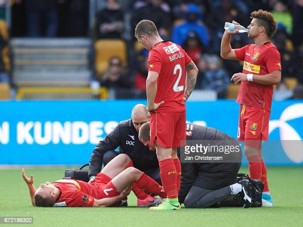 Stanislav Lobotka of FC Nordsjalland get an injury the Danish Alka Superliga match between FC Nordsjalland and Brondby IF at Right to Dream Park on...