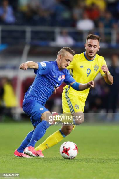 Stanislav Lobotka of Slovakia and Muamer Tankovic of Sweden competes for the ballduring the UEFA European Under21 match between Slovakia and Sweden...