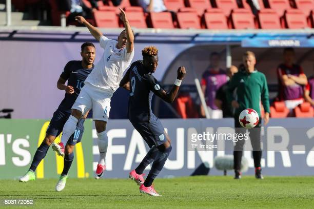 Stanislav Lobotka of Slovakia and Tammy Abraham of England battle for the ball during the 2017 UEFA European Under21 Championship match between...