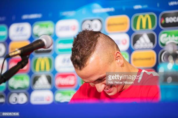 Stanislav Lobotka of Slovakia burst into laughter during the Slovakia U21 national team MD1 press conference at Arena Lublin on June 21 2017 in...