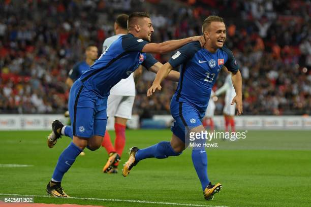 Stanislav Lobotka of Slovakia celebrates as he scores their first goal during the FIFA 2018 World Cup Qualifier between England and Slovakia at...