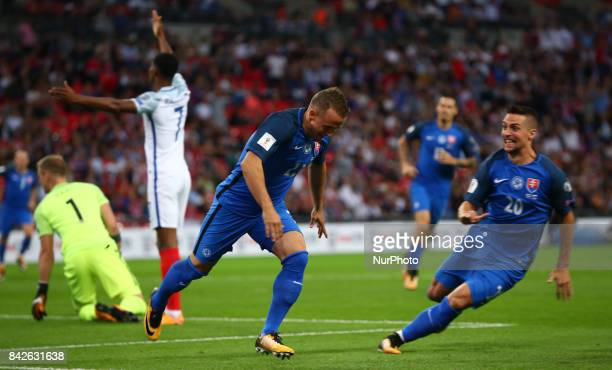 Stanislav Lobotka of Slovakia celebrates scoring his sides first goal during the FIFA 2018 World Cup Qualifier European Group F match between England...