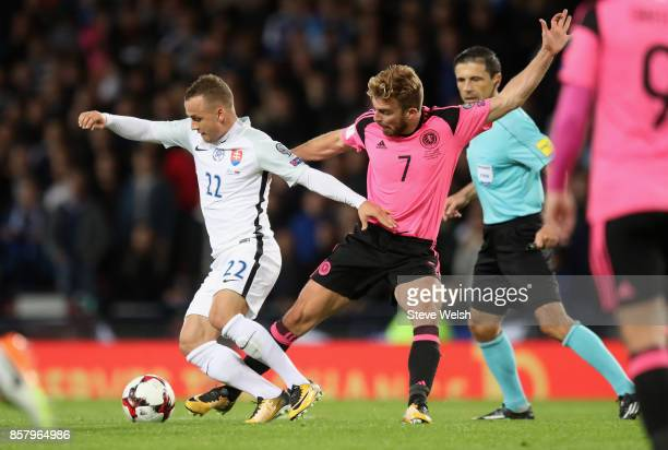 Stanislav Lobotka of Slovakia evades James Morrison of Scotland during the FIFA 2018 World Cup Group F Qualifier between Scotland and Slovakia at...
