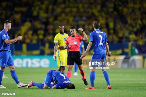 Stanislav Lobotka of Slovakia injured during the UEFA European Under21 match between Slovakia and Sweden at Arena Lublin on June 22 2017 in Lublin...