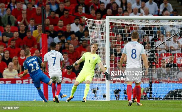 Stanislav Lobotka of Slovakia scores a goal to make it 01 during the FIFA 2018 World Cup Qualifier between England and Slovakia at Wembley Stadium on...