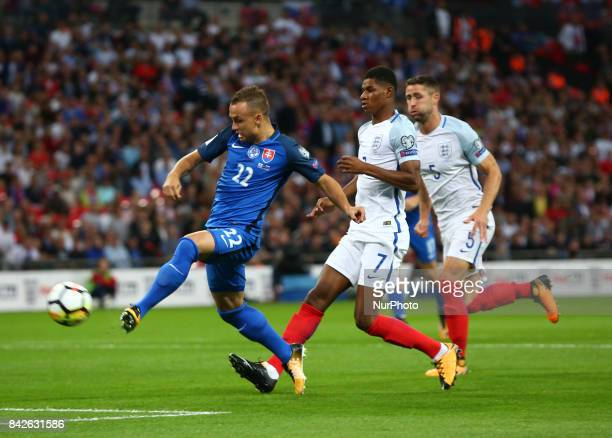 Stanislav Lobotka of Slovakia scores his sides first goal during the FIFA 2018 World Cup Qualifier European Group F match between England and...