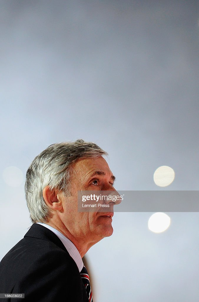 Stanislav Pesic, head coach of Muenchen looks on before the Beko Basketball match between FC Bayern Muenchen and Telekom Baskets Bonn at Audi-Dome on December 9, 2012 in Munich, Germany.