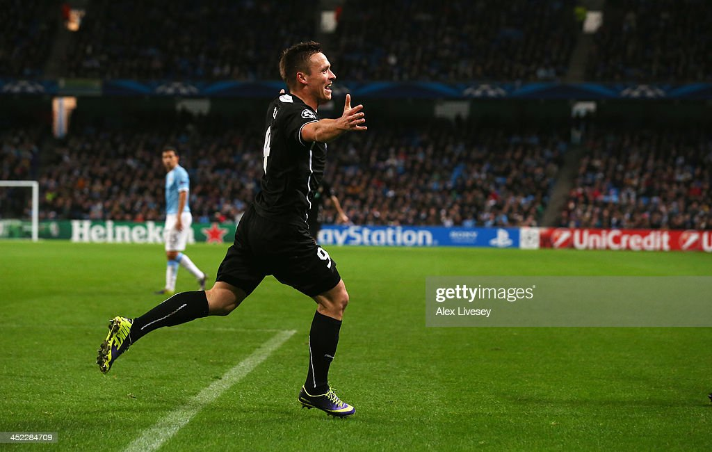 Stanislav Tecl of Plzen celebrates scoring his team's second goal during the UEFA Champions League Group D match between Manchester City and FC Viktoria Plzen at Etihad Stadium on November 27, 2013 in Manchester, England.