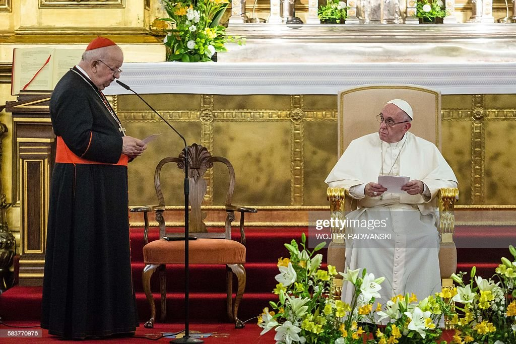Stanislaw Dziwisz Polish prelate of the Roman Catholic Church delivers his speech as Pope Francis meets with Polish bishops at Wawel royal castle's...