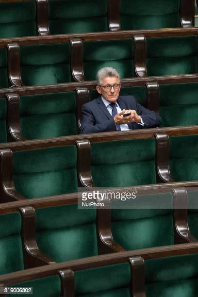 Stanislaw Piotrowicz during a night debate on a Supreme Court bill in the lower house of Polish Parliament in Warsaw Poland on 18 July 2017