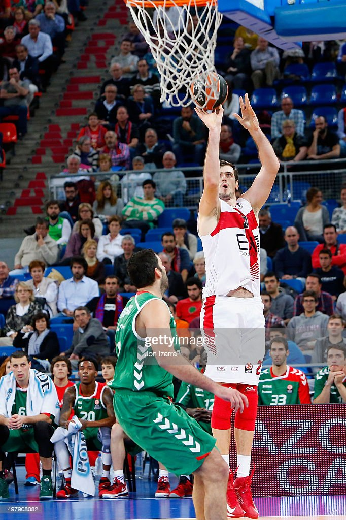 Stanko Barac, #27 of EA7 Emporio Armani Milan in action during the Turkish Airlines Euroleague Regular Season Round 6 game between Laboral Kutxa Vitoria Gasteiz v EA7 Emporio Armani Milan at Fernando Buesa Arena on November 19, 2015 in Vitoria-Gasteiz, Spain.