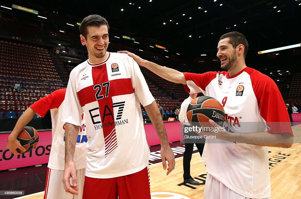 Stanko Barac, #27 of EA7 Emporio Armani Milan jokes with Luka Babic, #9 of Cedevita Zagreb before the Turkish Airlines Euroleague Basketball Regular Season date 4 game between EA7 Emporio Armani Milan v Cedevita Zagreb at Mediolanum Forum on November 5, 2015 in Milan, Italy.