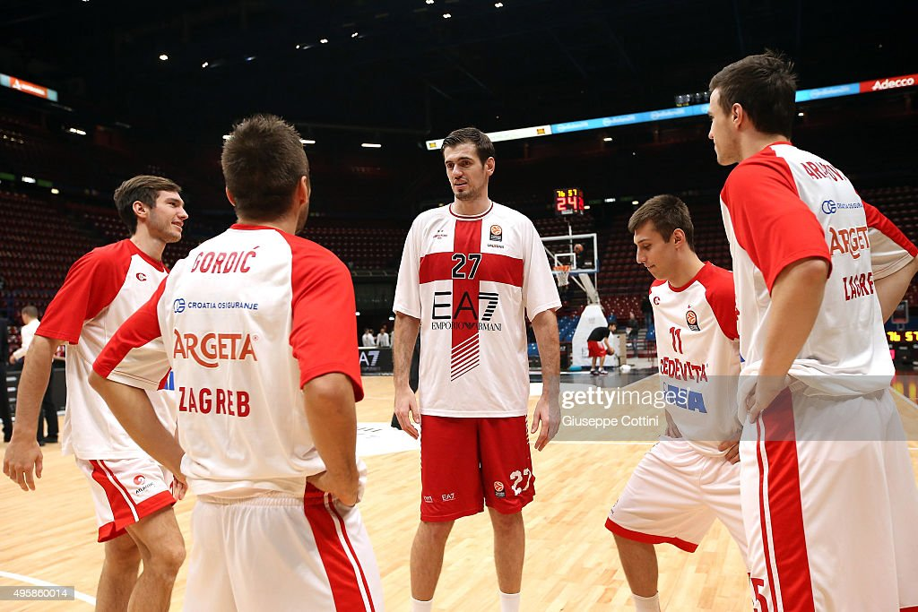 Stanko Barac, #27 of EA7 Emporio Armani Milan talks with the players of Cedevita Zagreb, his ex Team, during the warm-up of the Turkish Airlines Euroleague Basketball Regular Season date 4 game between EA7 Emporio Armani Milan v Cedevita Zagreb at Mediolanum Forum on November 5, 2015 in Milan, Italy.