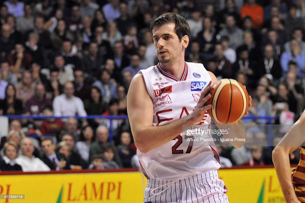 Stanko Barac of EA7 in action during the LegaBsaket Serie A match between Reyer Umana Venezia and EA7 Emporio Armani Olimpia Milano at Palasport Taliercio on March 13, 2016 in Mestre, Italy.