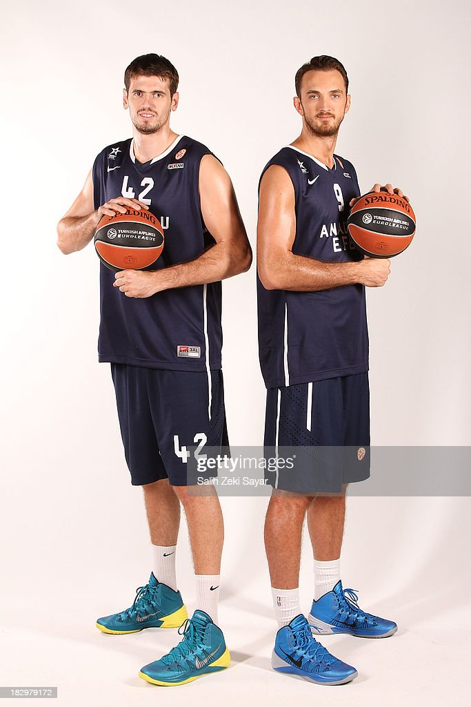 Stanko Barac, Semih Erden of Anadolu Efes, during the Anadolu Efes Istanbul 2013/14 Turkish Airlines Euroleague Basketball Media Day at Abdi Ipekci on September 28, 2013 in Istanbul, Turkey.