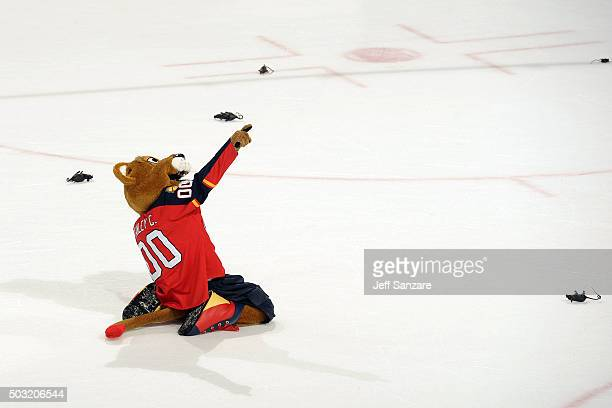Stanley C Panther celebrates on the ice after a 30 win by the Florida Panthers over the New York Rangers at the BBT Center on January 2 2016 in...