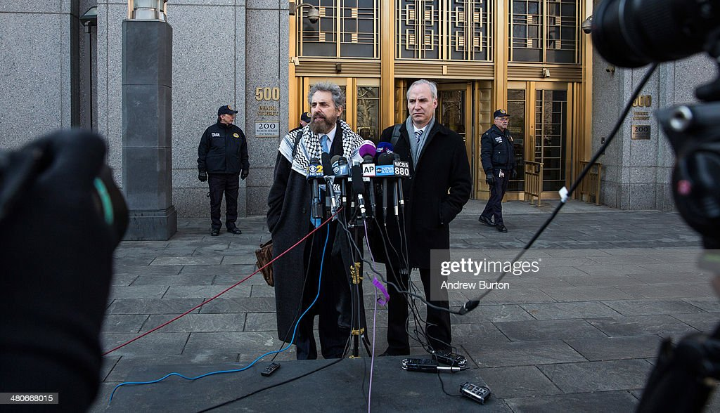 Stanley Cohen and Geoffrey S Stewart the defense lawyers for Osama Bin Laden's soninlaw Sulaiman Abu Ghaith speak to members of the media after Abu...