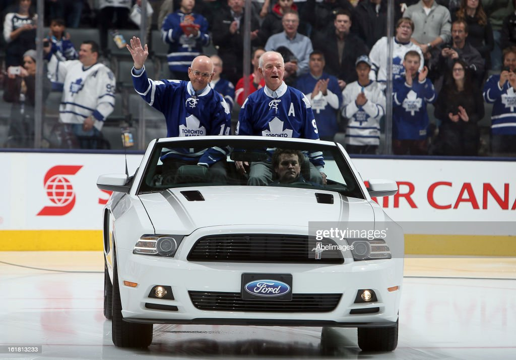 Stanley Cup Champions Dave Keon and Dick Duff take to the ice during a ceremony commemorating the 50th anniversary of the team before NHL action at the Air Canada Centre February 16, 2013 in Toronto, Ontario, Canada.