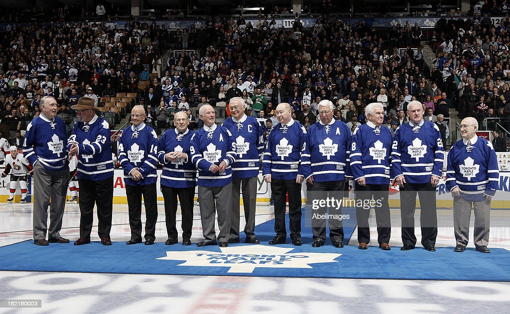 Stanley Cup Champions take to the ice during a ceremony commemorating the 50th anniversary of the team before NHL action at the Air Canada Centre February 16, 2013 in Toronto, Ontario, Canada.
