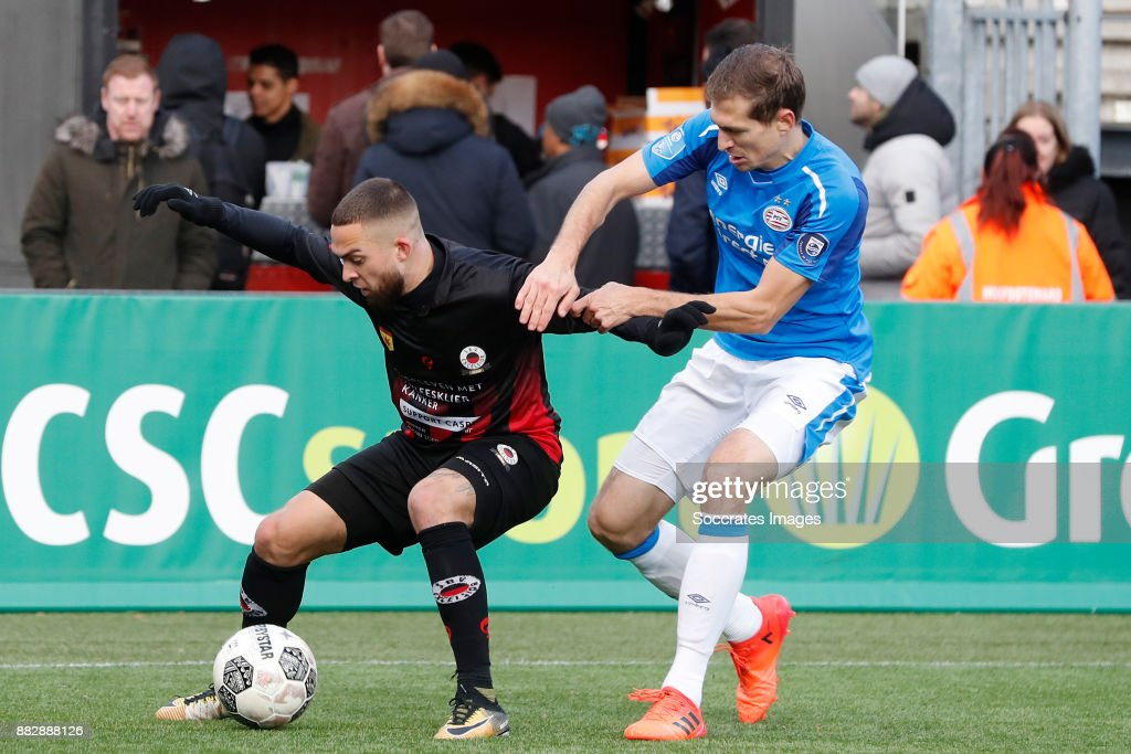 Stanley Elbers of Excelsior, Daniel Schwaab of PSV during the Dutch Eredivisie match between Excelsior v PSV at the Van Donge & De Roo Stadium on November 26, 2017 in Rotterdam Netherlands