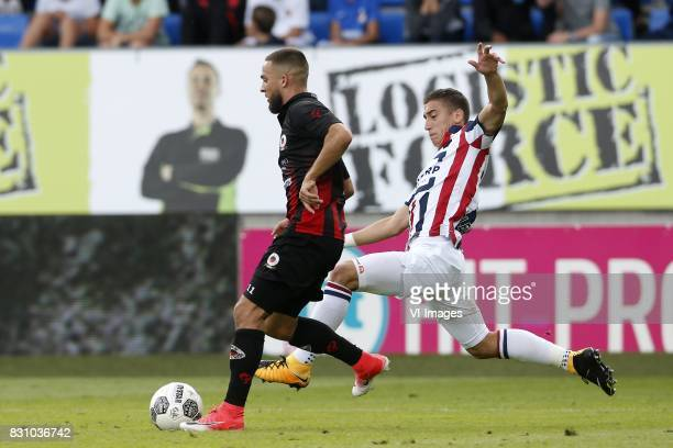 Stanley Elbers of Excelsior Kostas Tsimikas of Willem II during the Dutch Eredivisie match between Willem II Tilburg and sbv Excelsior at Koning...