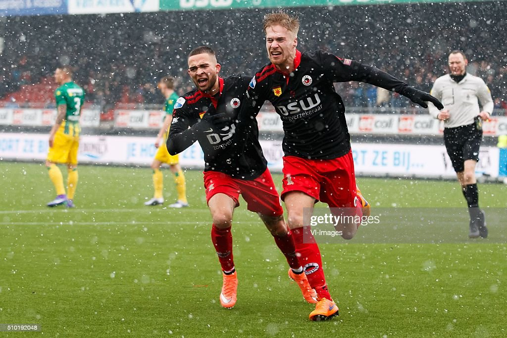Stanley Elbers of Excelsior, Tom van Weert of Excelsior during the Dutch Eredivisie match between Excelsior Rotterdam and ADO Den Haag at Woudenstein stadium on February 14, 2016 in Rotterdam, The Netherlands