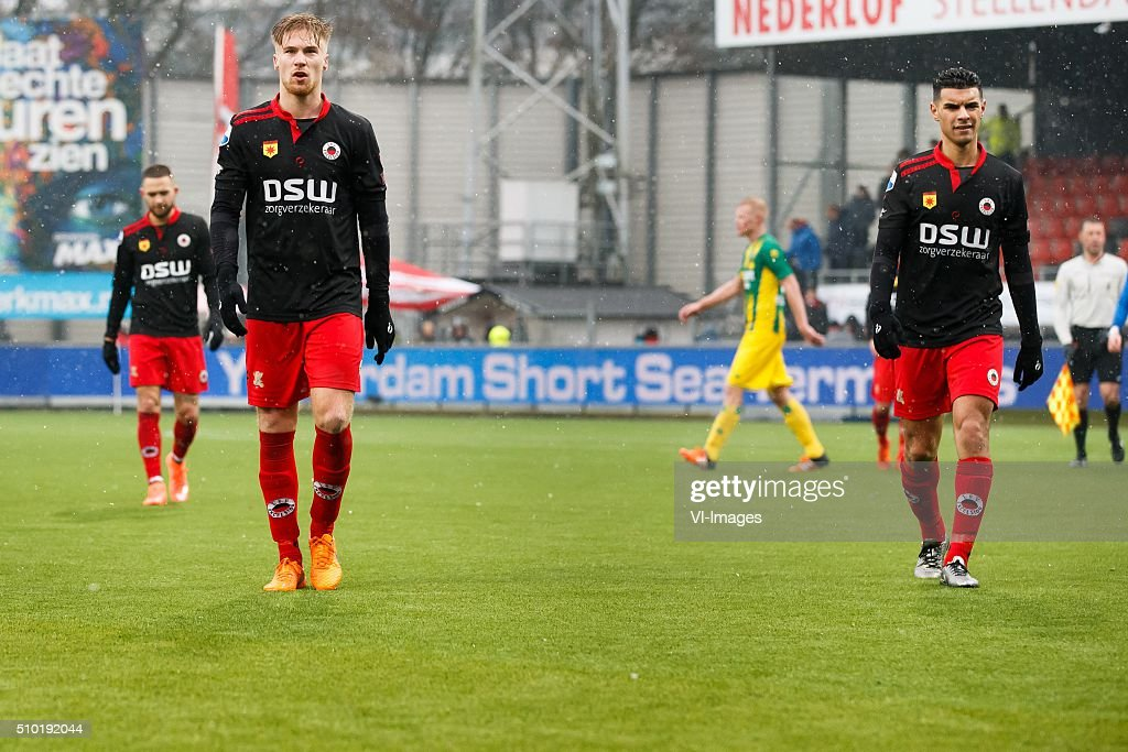 Stanley Elbers of Excelsior, Tom van Weert of Excelsior, Khalid Karami of Excelsior during the Dutch Eredivisie match between Excelsior Rotterdam and ADO Den Haag at Woudenstein stadium on February 14, 2016 in Rotterdam, The Netherlands