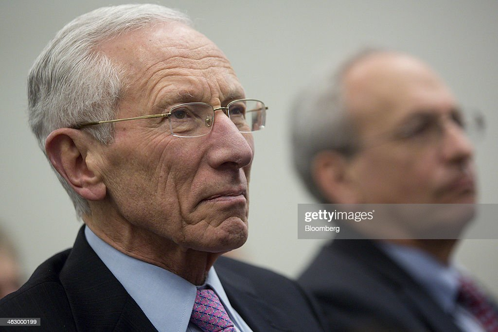 <a gi-track='captionPersonalityLinkClicked' href=/galleries/search?phrase=Stanley+Fischer&family=editorial&specificpeople=233518 ng-click='$event.stopPropagation()'>Stanley Fischer</a>, former governor of the Bank of Israel and nominated to be vice chairman of the U.S. Federal Reserve, left, and <a gi-track='captionPersonalityLinkClicked' href=/galleries/search?phrase=Donald+Kohn&family=editorial&specificpeople=3793171 ng-click='$event.stopPropagation()'>Donald Kohn</a>, former vice chairman of the Board of Governors of the Federal Reserve System, listen as Ben S. Bernanke, chairman of the U.S. Federal Reserve, not pictured, speaks during a discussion at the Brookings Institution in Washington, D.C., U.S., on Thursday, Jan. 16, 2014. Bernanke defended quantitative easing, saying it has helped the economy while posing little risk of inflation. Photographer: Andrew Harrer/Bloomberg via Getty Images