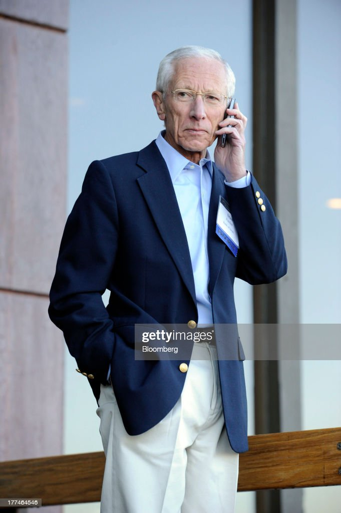 <a gi-track='captionPersonalityLinkClicked' href=/galleries/search?phrase=Stanley+Fischer&family=editorial&specificpeople=233518 ng-click='$event.stopPropagation()'>Stanley Fischer</a>, former governor of the Bank of Israel, talks outside the Jackson Hole economic symposium, sponsored by the Kansas City Federal Reserve Bank at the Jackson Lake Lodge in Moran, Wyoming, U.S., on Friday, Aug. 23, 2013. The U.S. central banks bond buying is a less potent tool for stimulating growth than policy makers believe, two economists said in a paper released today at a Federal Reserve conference. Photographer: Price Chambers/Bloomberg via Getty Images