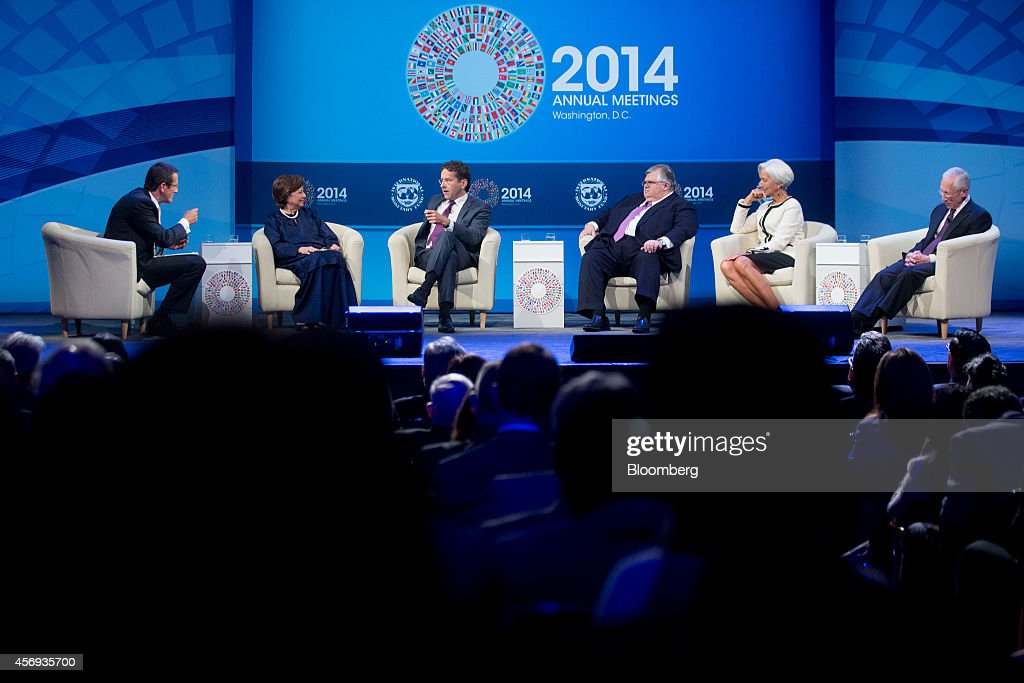 Stanley Fischer vice chairman of the US Federal Reserve from right Christine Lagarde managing director of the International Monetary Fund Agustin...