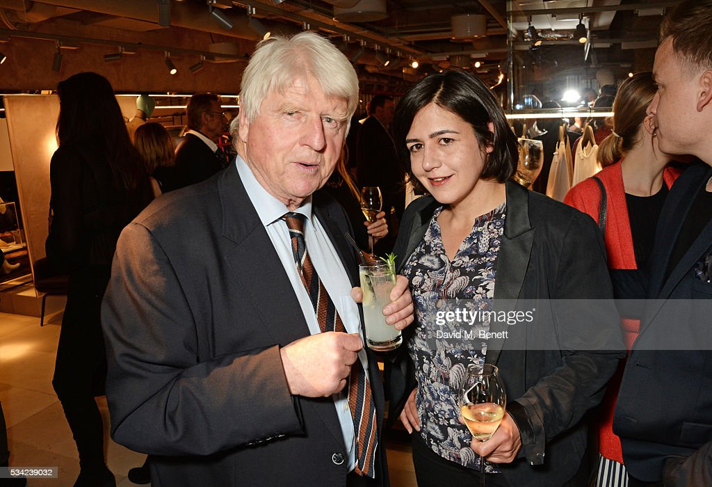 Stanley Johnson (L) and Londoner's Diary editor Joy Lo Dico attend the London Evening Standard Londoner's Diary 100th Birthday Party in partnership with Harvey Nichols at Harvey Nichols on May 25, 2016 in London, England.