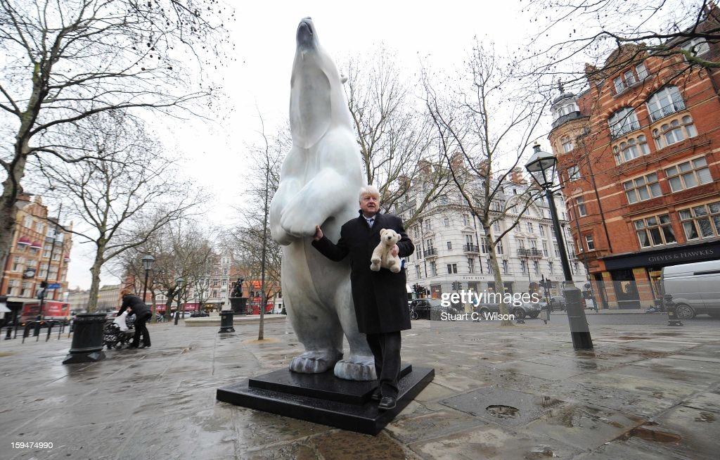 Stanley Johnson attends the unveiling of the statue of 'Boris The Polar Bear' to launch the Great British campaign to save the species at Sloane Square on January 14, 2013 in London, England.