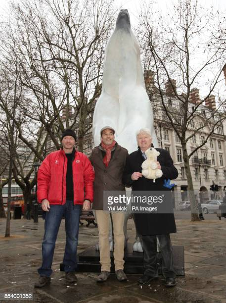 Stanley Johnson father of Mayor Boris Johnson with sculptor Adam Binder and polar explorer Jim McNeill during the unveiling of a life size 12ft...