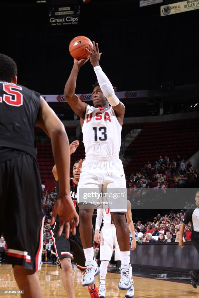 Stanley Johnson #13 of Team USA shoots the ball against the World Team on April 12, 2014 at the Moda Center Arena in Portland, Oregon.
