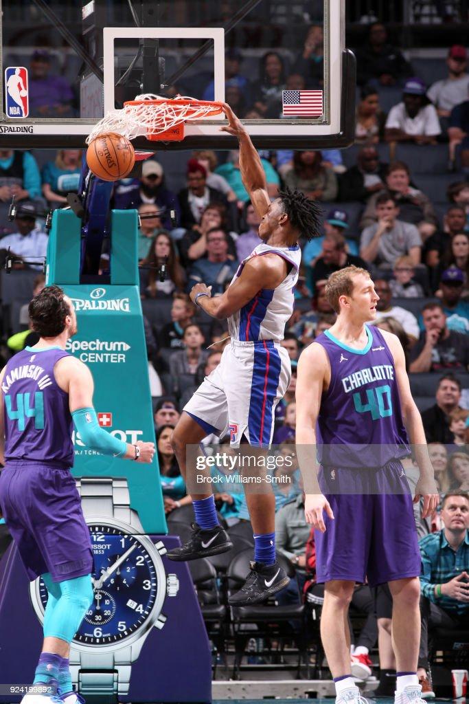 Stanley Johnson #7 of the Detroit Pistons dunks the ball against the Charlotte Hornets on February 25, 2018 at Spectrum Center in Charlotte, North Carolina.