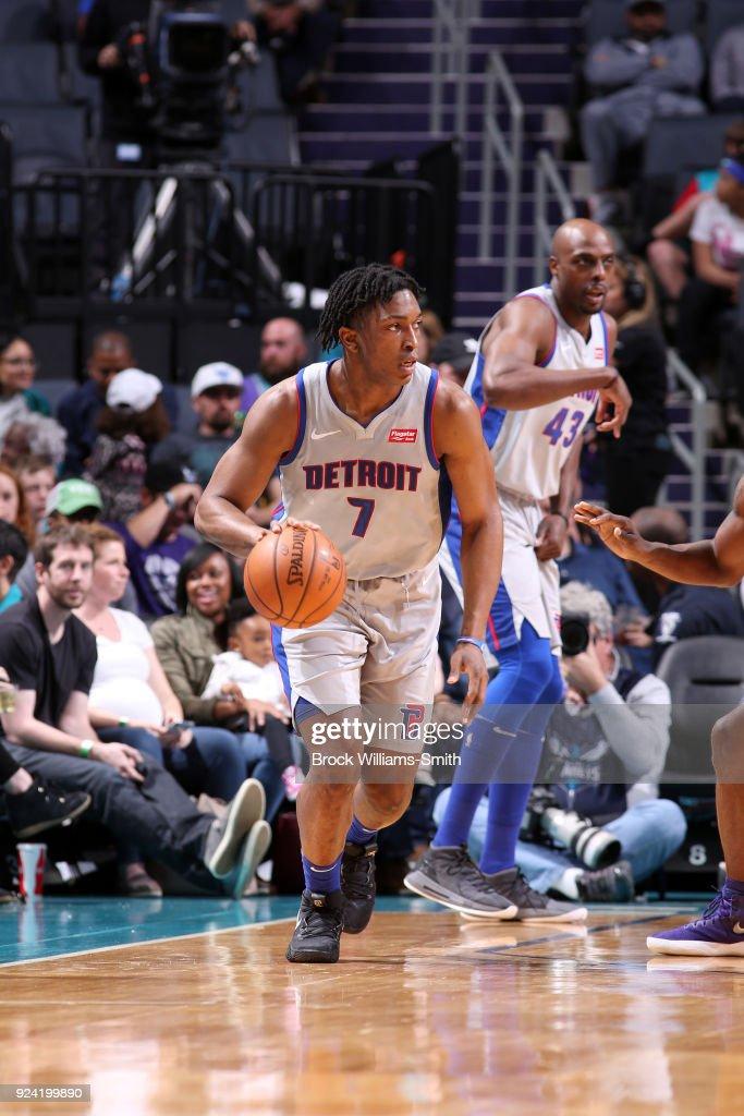 Stanley Johnson #7 of the Detroit Pistons handles the ball against the Charlotte Hornets on February 25, 2018 at Spectrum Center in Charlotte, North Carolina.