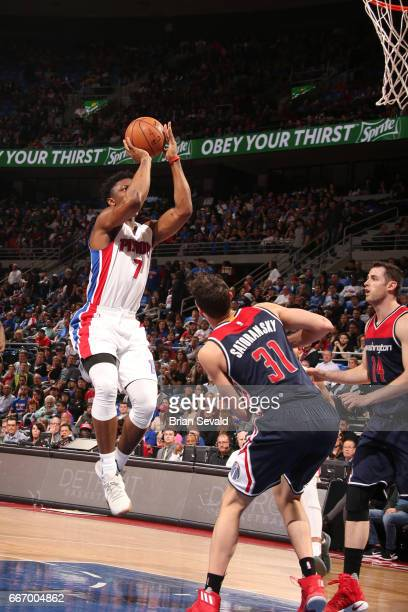 Stanley Johnson of the Detroit Pistons shoots the ball against the Washington Wizards on April 10 2017 at The Palace of Auburn Hills in Auburn Hills...
