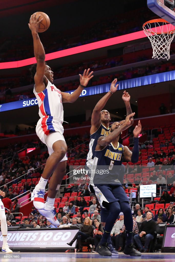 Stanley Johnson #7 of the Detroit Pistons shoots the ball against the Denver Nuggets at Little Caesars Arena on December 12, 2017 in Detroit, Michigan.