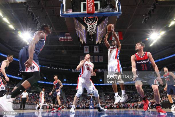 Stanley Johnson of the Detroit Pistons stb against the Washington Wizards on April 10 2017 at The Palace of Auburn Hills in Auburn Hills Michigan...