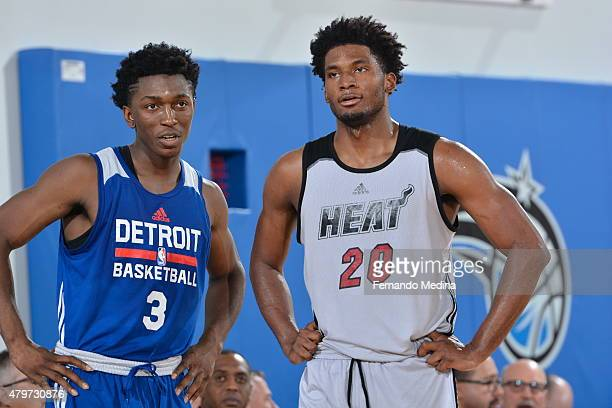 Stanley Johnson of the Detroit Pistons talks with Justise Winslow of the Miami Heat during the 2015 Orlando Pro Summer League game on July 6 2015 at...