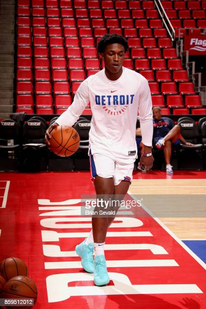 Stanley Johnson of the Detroit Pistons warms up before the game against the Indiana Pacers on October 9 2017 at Little Caesars Arena in Detroit...