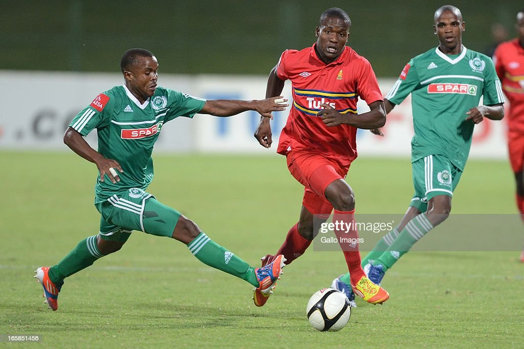 Stanley Kgatla and Roland Ketjijere during the Absa Premiership match between University of Pretoria and AmaZulu at Tuks Stadium on April 06, 2013 in Pretoria, South Africa.