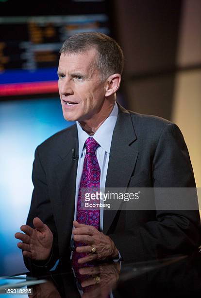 Stanley McChrystal chairman of Siemens Government Technologies Inc speaks during a Bloomberg Television interview in New York US on Friday Jan 11...