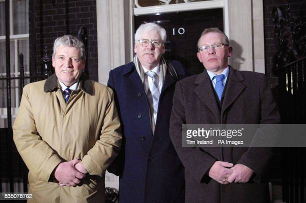Stanley McCombe Chairman of the Omagh SelfHelp and Support Group Michael Gallacher and Godfrey Wilson all relatives of those killed in the Omagh...