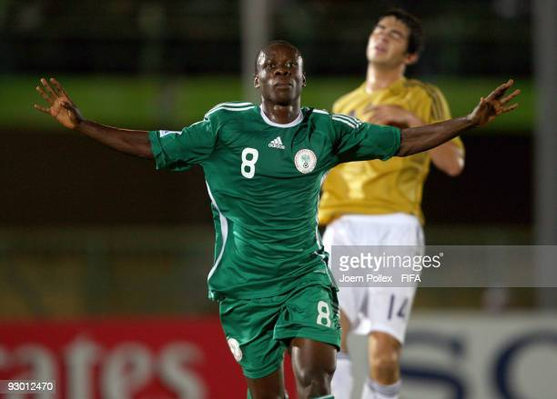 Stanley Okoro of Nigeria celebrates after scoring his team's first goal during the FIFA U17 World Cup Semi Final match between Spain and Nigeria at...