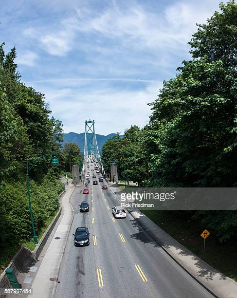 Stanley Park and Lions Gate Bridge in Vancouver British Columbia Canada on June 2013