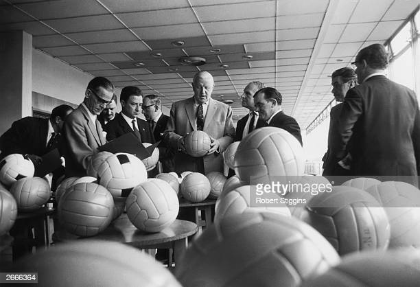 Stanley Rous president of FIFA and former secretary of the Football Association chooses the football to be used in World Cup '66