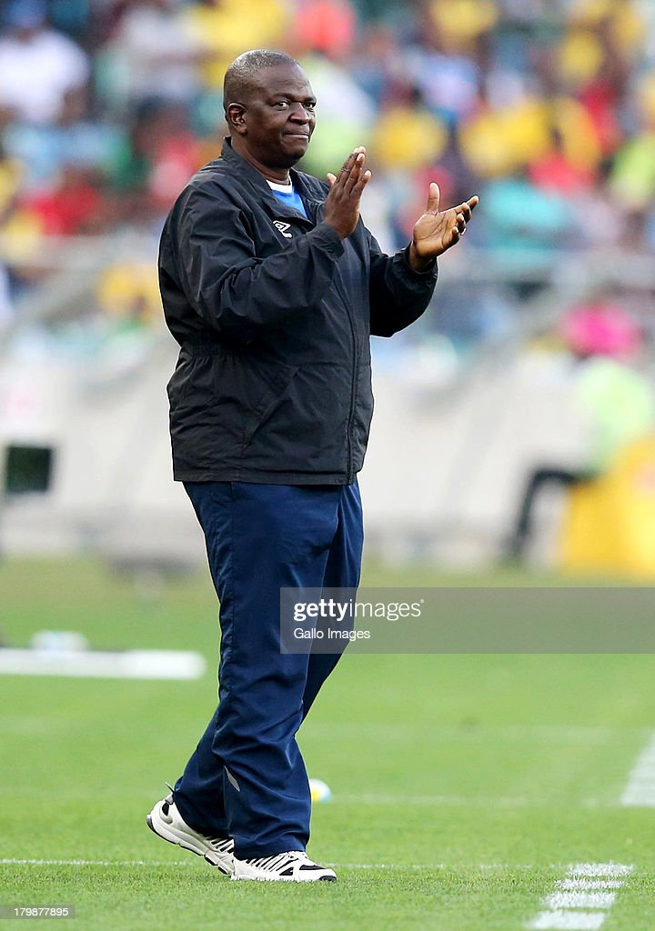 Stanley Tshosane manager of Botswana reacts during the 2014 FIFA World Cup Qualifier match between South Africa and Botswana from Moses Mabhida Stadium on September 07, 2013 in Durban, South Africa.